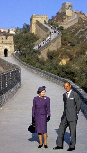 Queen Elizabeth and Prince Philip on the Great Wall of China in 1986.