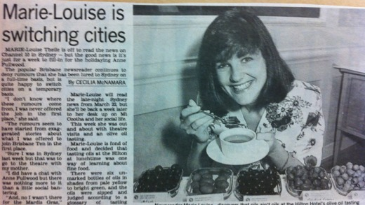 A 1993 clipping from the now-defunct The Sun newspaper in which newsreader Marie-Louise Thiele does an olive-oil tasting ...