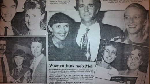 A social clipping from 1991 in the now-defunct Sunday Sun: a Hilton cocktail party hosted Mel Gibson and then-Queensland ...