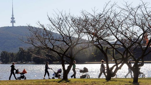 Stunning ... Lake Burley Griffin is an inviting attraction in the city centre.