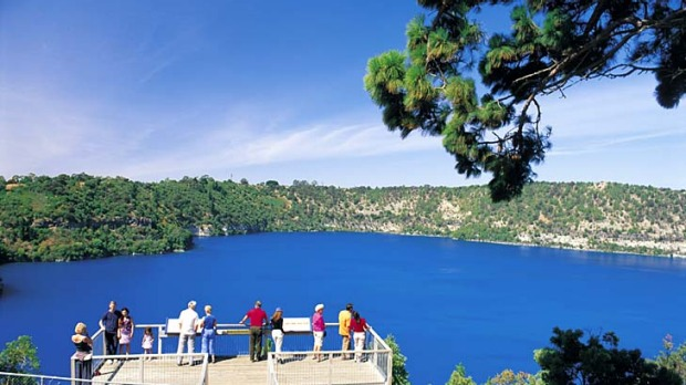 Feeling blue ... Mount Gambier's Blue Lake, which changes colour each November.
