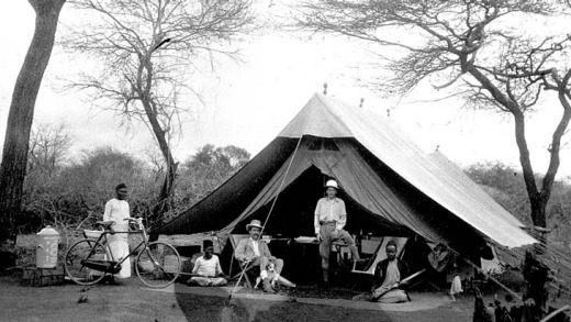 Lost world... Colonel John Henry Patterson (above, third from left) at a tent camp near the Tsavo River in the late 1890s.