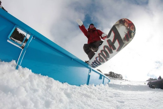 Snowboarder Mat Galina enjoying the 1st day of the snow season at Falls Creek today. Falls Creek opened for skiing and ...