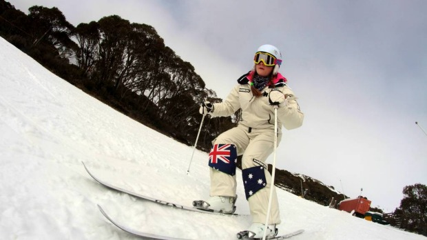 Winter Olympian Britteny Cox was the youngest Olympian at the Vancouver Olympics. Today she she enjoyed her  1st turns of the snow season at Falls Creek. Falls Creek opened for skiing and boarding with a base close to 30cm and 4 lifts in operation. Cold Autumn and Winter temperatures have allowed snowmakers to add to the snow cover.