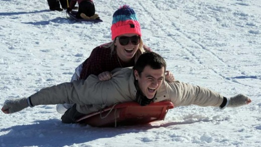 Flying high … Tamara Lloyd and Zac Solomons enjoy the opening weekend of the Australian ski season at Perisher ...