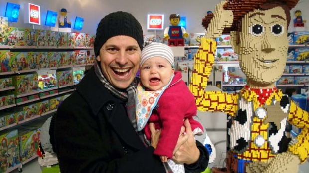 Baby on board ... Barry Divola and Coco in toy heaven.