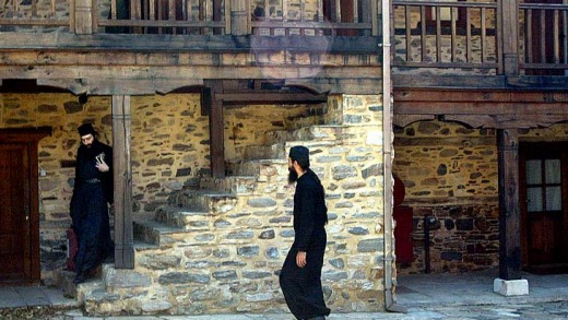 Monks in one of the community's courtyards on Mount Athos.