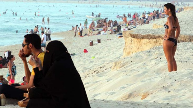 A campaign against foreigners revealing too much flesh in public is gaining momentum in the United Arab Emirates.