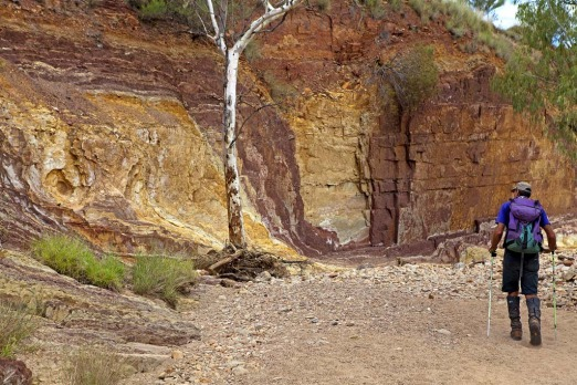 The colourful cliffs at the Ochre Pits.