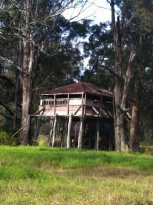 The elevated wooden structure on the side of the Hume Highway near Menangle