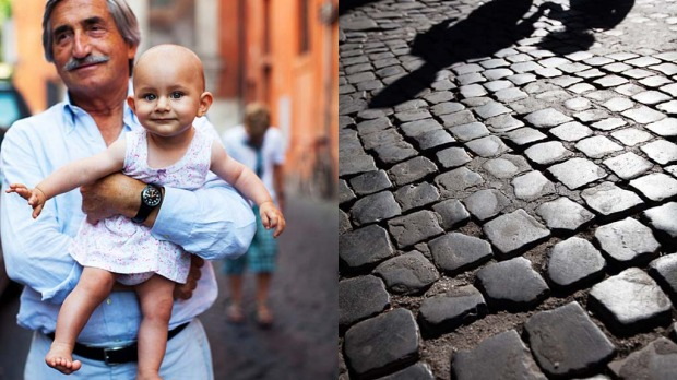 Trastevere: <i>Carolina and her grandfather, now and in a few years time</i>