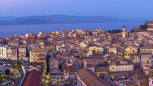 Island life... Corfu Town, as seen from the New Fortress.
