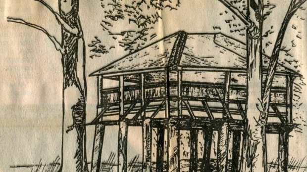 Susan Parsons' 1984 sketch of the wooden structure
