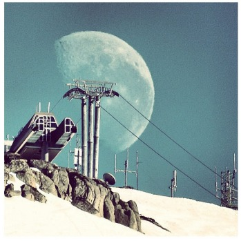 Full moon at Thredbo by @snowbum_spaz