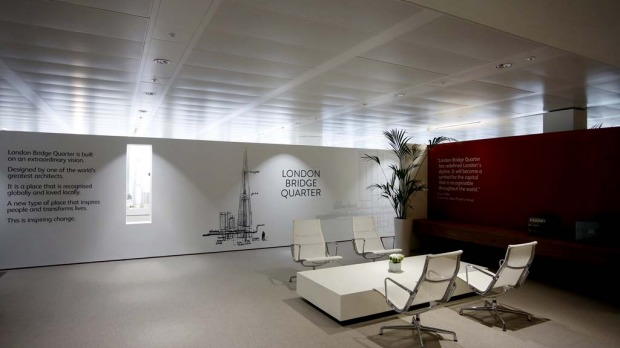 A temporary reception area on the 14th floor of the Shard tower in London.