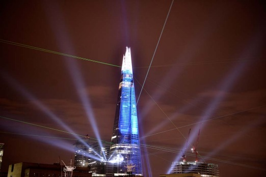 The Shard during a laser light show from Tower Millennium Pier in London.  The European Union's tallest building, ...