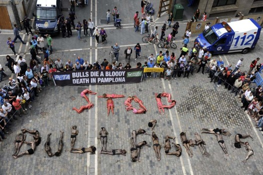 "Members of the pro-animal groups PETA and Anima Naturalis create words reading ""Stop Bullfights"" with their bodies ..."