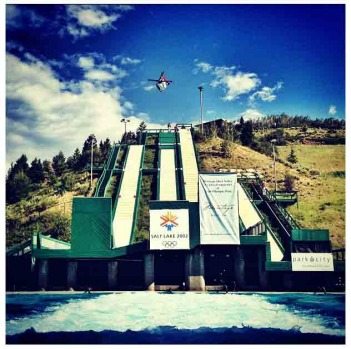 Utah Olympic Park ski jumping at water park @jenhudak