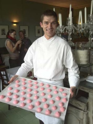 Daniel Hebet from le Jardin du Quay shows off his macaroons.