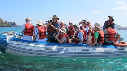 A Galapagos shore excursion aboard a Zodiac inflatable boat.
