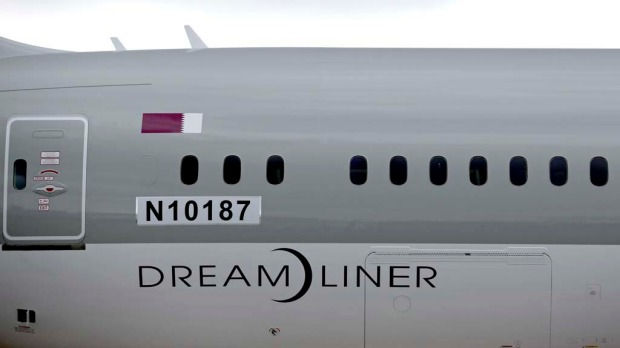 The body of the first Qatar Airways Boeing 787 Dreamliner.