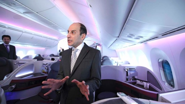 Akbar Al Baker, chief executive officer of Qatar Airways, is interviewed on board the airline's first Boeing 787 Dreamliner.