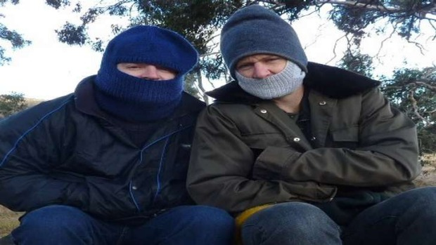 Out of town'ers - Mark and Antony huddle for warmth