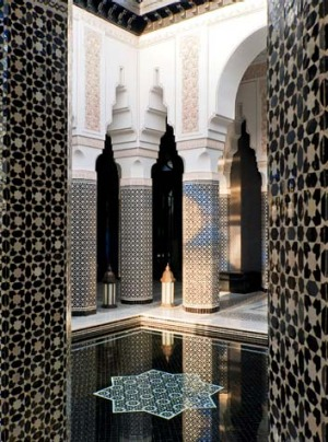 A tiled courtyard at Le Selman.