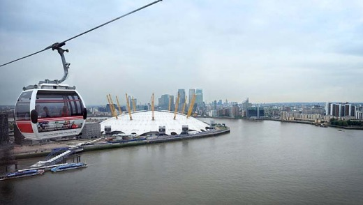 The Emirates Air Line crosses the Thames.