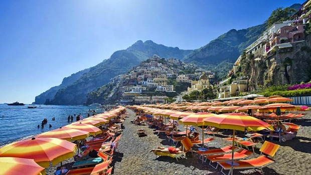 Colours of the coast ... the beach at Positano.