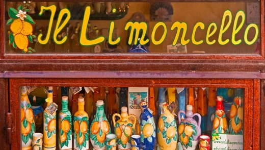 Bottles of locally made limoncello in Amalfi.