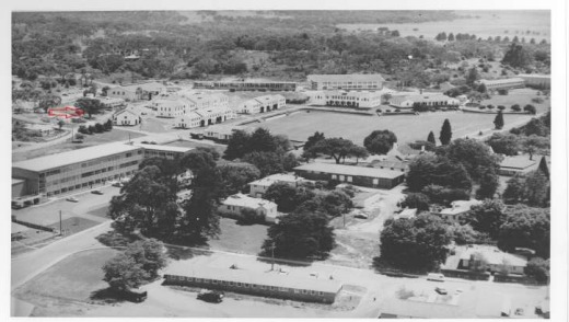 An aerial taken in 1961 of Duntroon. The red arrow points to the large gum tree behind the Cork Block where dirt from ...