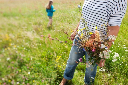 Neukolln: <i>airport turned meadow - Iris and daughter Marie picking flowers for oma - grandma</i>
