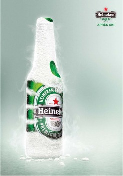 Heineken's apres ski ad makes a cold hand point.