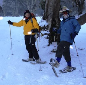 Getting there ... 3.37pm, snow-shoeing with Peter Cocker at Thredbo.