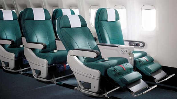 Cathay Pacific's premium economy seats has a greater incline and roomier width, leaving plenty of legroom.