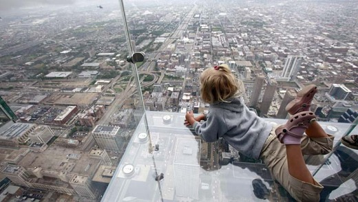 The view of Chicago from the Willis Tower's Ledge.