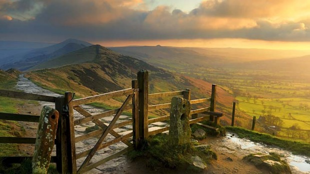 Breathtaking ... sunrise over Hope Valley and the Great Ridge in Derbyshire.