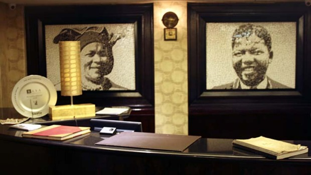 Anti-apartheid icons ... mosaics of Albertina Sisulu and Nelson Mandela.