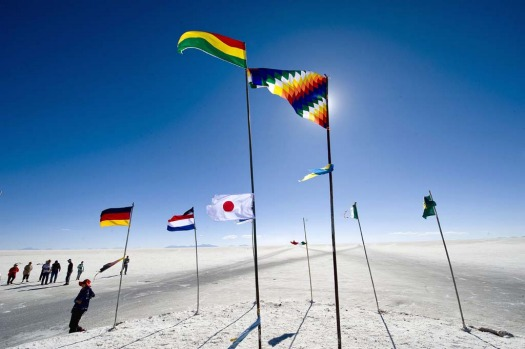 Flags from numerous countries are seen waving at the Uyuni salt flats, Bolivia.
