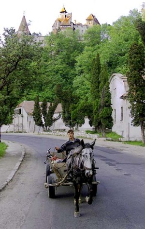 A traveller near Bran Castle.