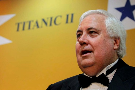 Clive Palmer talks to the media before hosting the Captain's Atlantic Dinner.