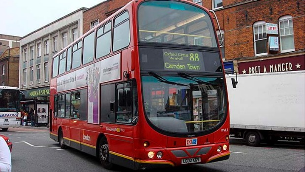 All the way on the 88 ... the route 88 bus in London takes you to the city's highlights.
