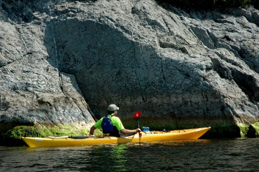 Kayaking along fossils in Stonehammer's geopark in Canada.