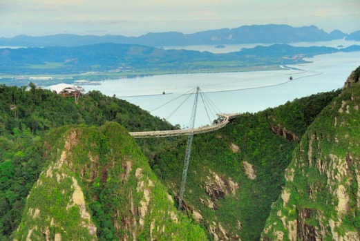 The hanging bridge cable car ride over Langkawi's geopark.
