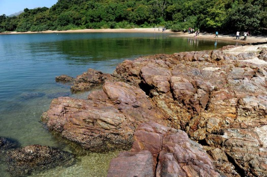 Visitors enjoy themselves at the geopark in Ma Shi Chau in Hong Kong, China.