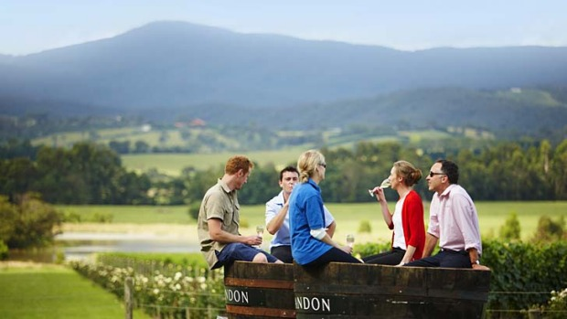 Goes with the terroir ... friends relax at Domaine Chandon Winery.