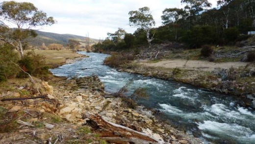 The floods of March 2012 have scoured out the banks Goodradgibee River which flows through the Brindabella Valley