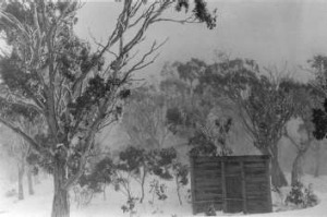 Bill Ginn's Hut near the Mt Franklin Ski Chalet in August 1955.  This small hut stood behind the Chalet and was built by ...