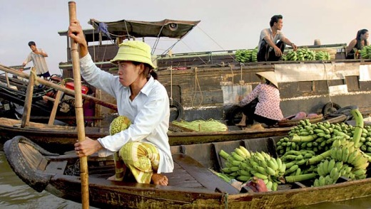 Silver scene ... floating markets are among Vietnam's maritime traffic.